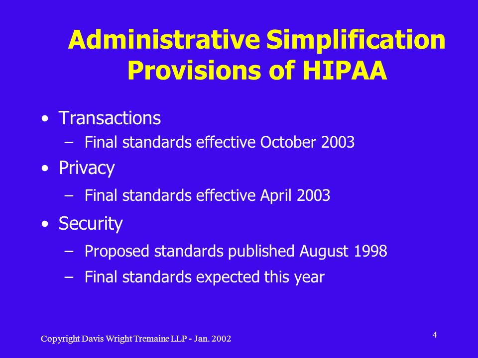 Administrative Simplification Provisions of HIPAA