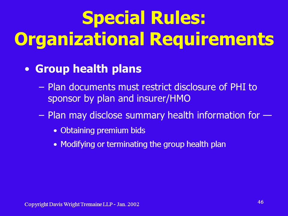 Special Rules: Organizational Requirements