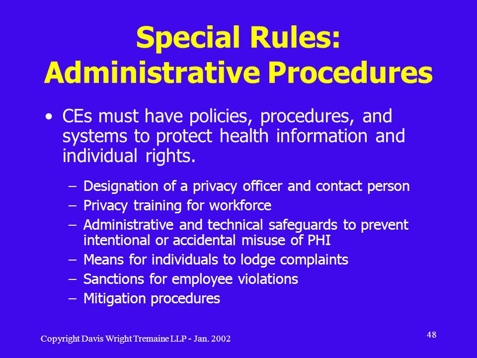 Special Rules: Administrative Procedures