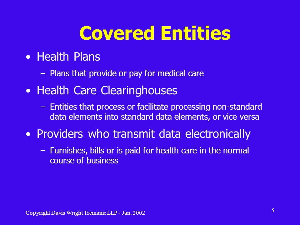 Covered Entities Health Plans Health Care Clearinghouses