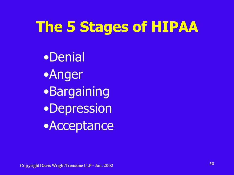 The 5 Stages of HIPAA Denial Anger Bargaining Depression Acceptance