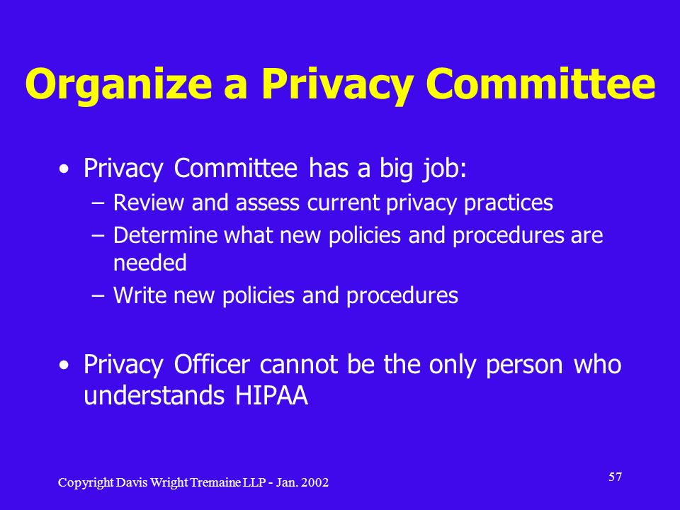 Organize a Privacy Committee