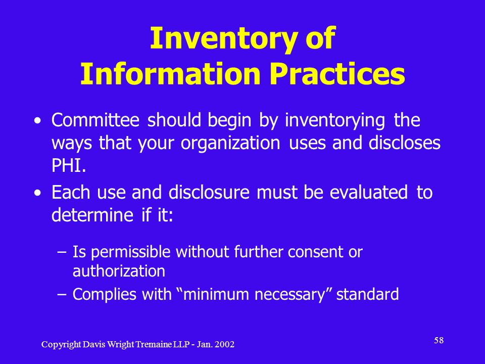Inventory of Information Practices