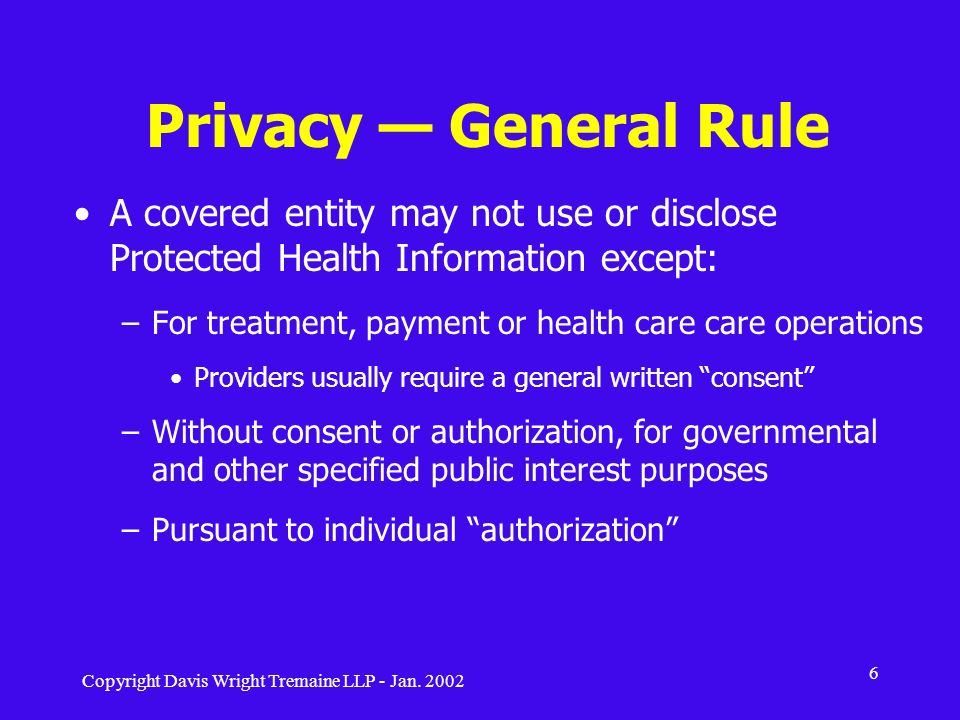 Privacy — General Rule A covered entity may not use or disclose Protected Health Information except: