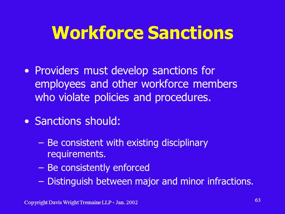 Workforce Sanctions Providers must develop sanctions for employees and other workforce members who violate policies and procedures.
