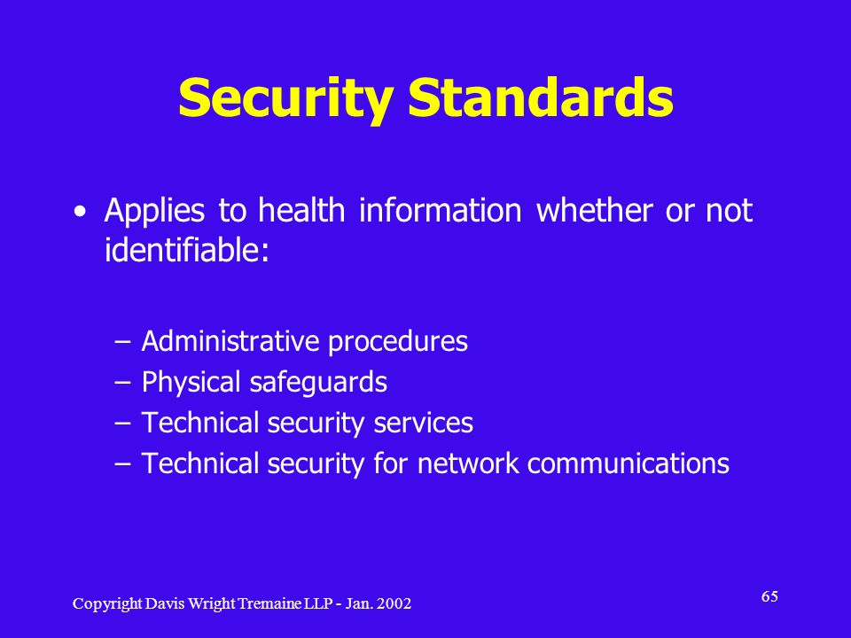 Security Standards Applies to health information whether or not identifiable: Administrative procedures.