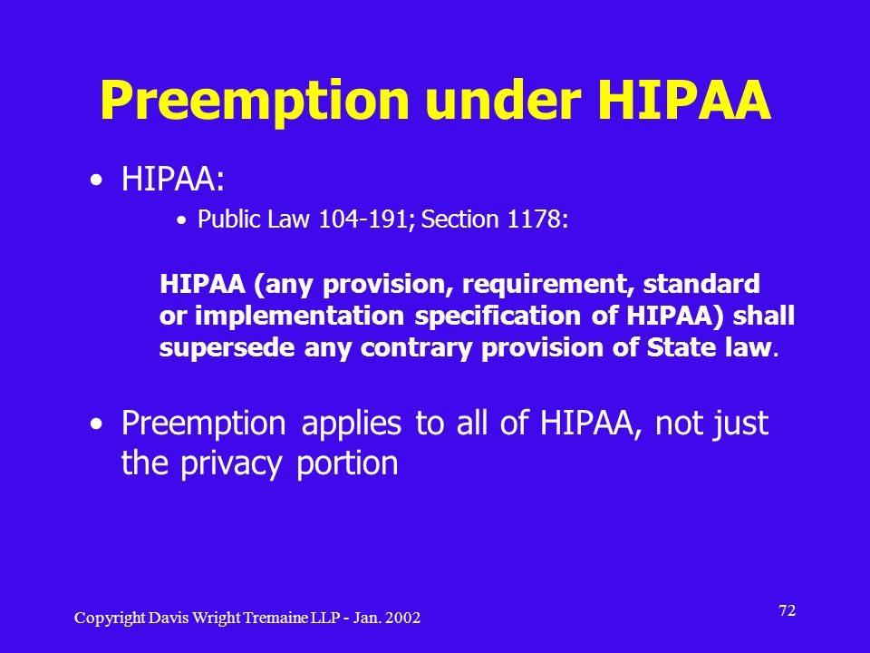 Preemption under HIPAA