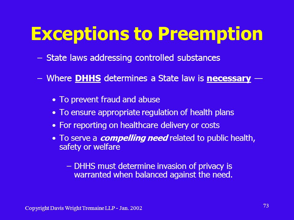Exceptions to Preemption