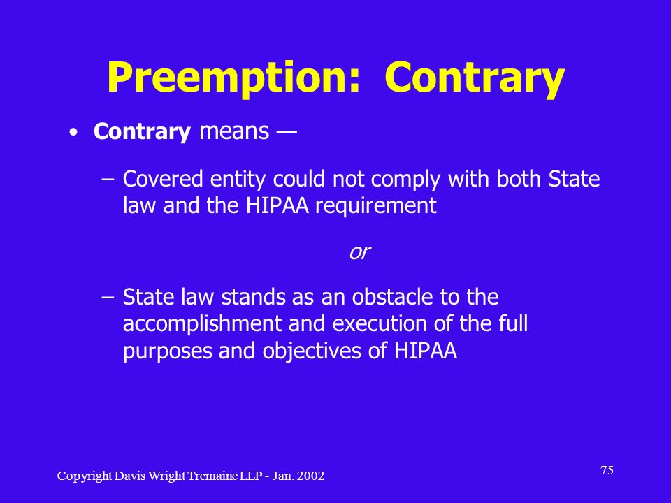 Preemption: Contrary Contrary means —