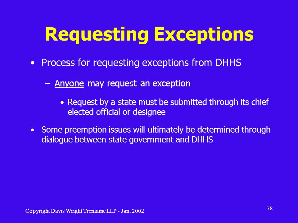 Requesting Exceptions