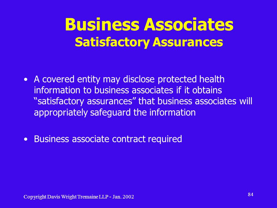 Business Associates Satisfactory Assurances