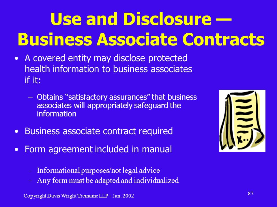 Use and Disclosure — Business Associate Contracts
