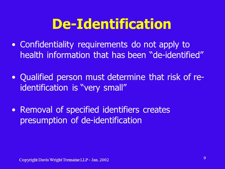 De-Identification Confidentiality requirements do not apply to health information that has been de-identified