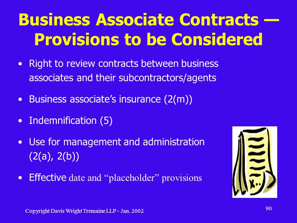 Business Associate Contracts — Provisions to be Considered