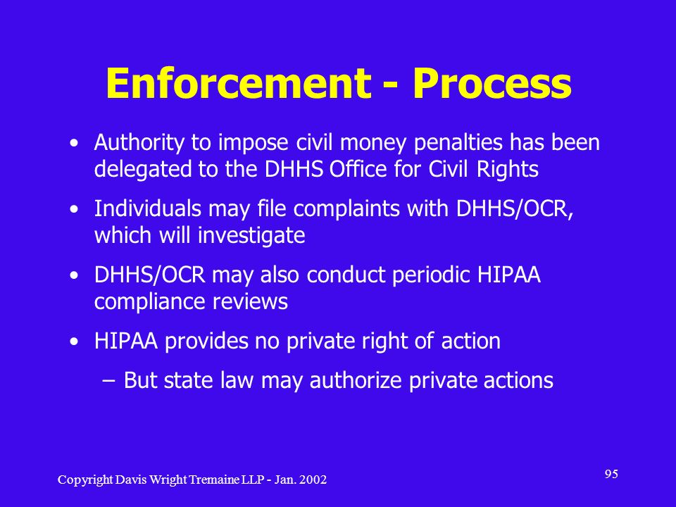 Enforcement - Process Authority to impose civil money penalties has been delegated to the DHHS Office for Civil Rights.