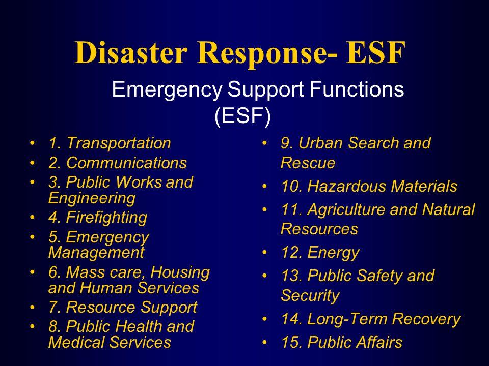 Disaster Response- ESF