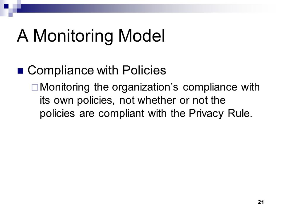 A Monitoring Model Compliance with Policies