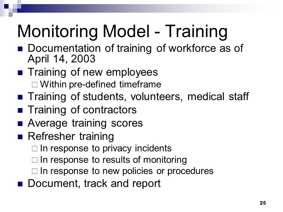 Monitoring Model - Training