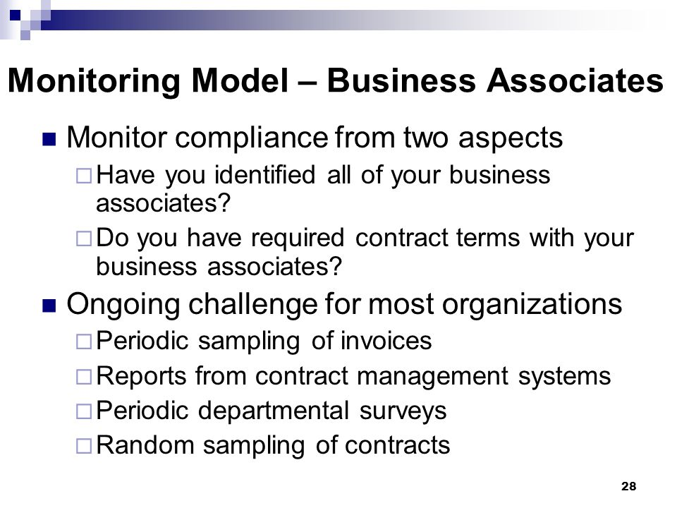 Monitoring Model – Business Associates
