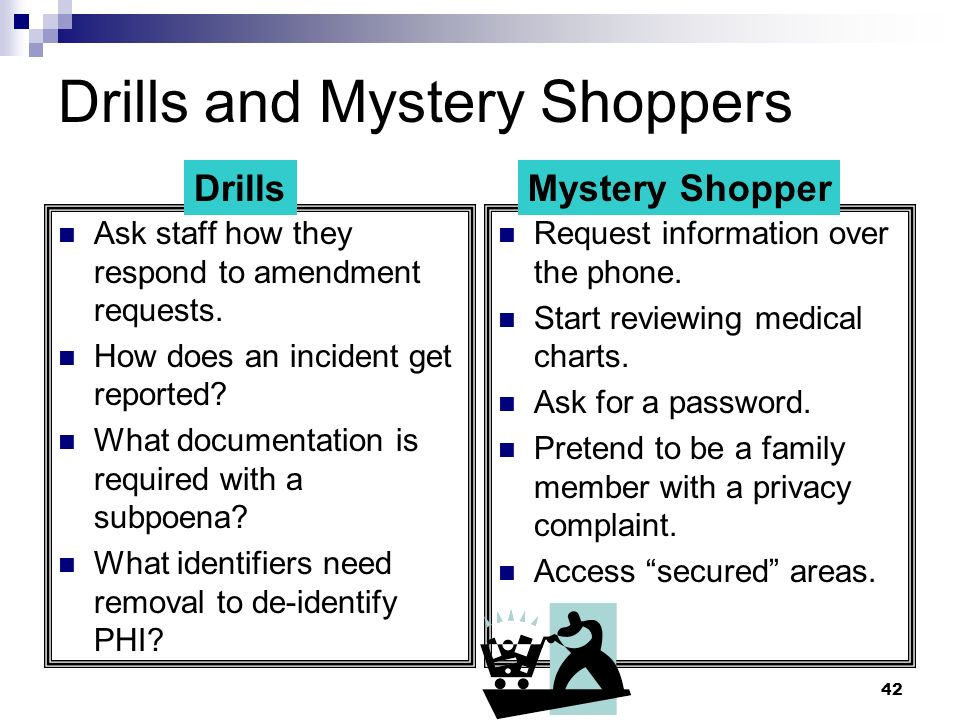 Drills and Mystery Shoppers
