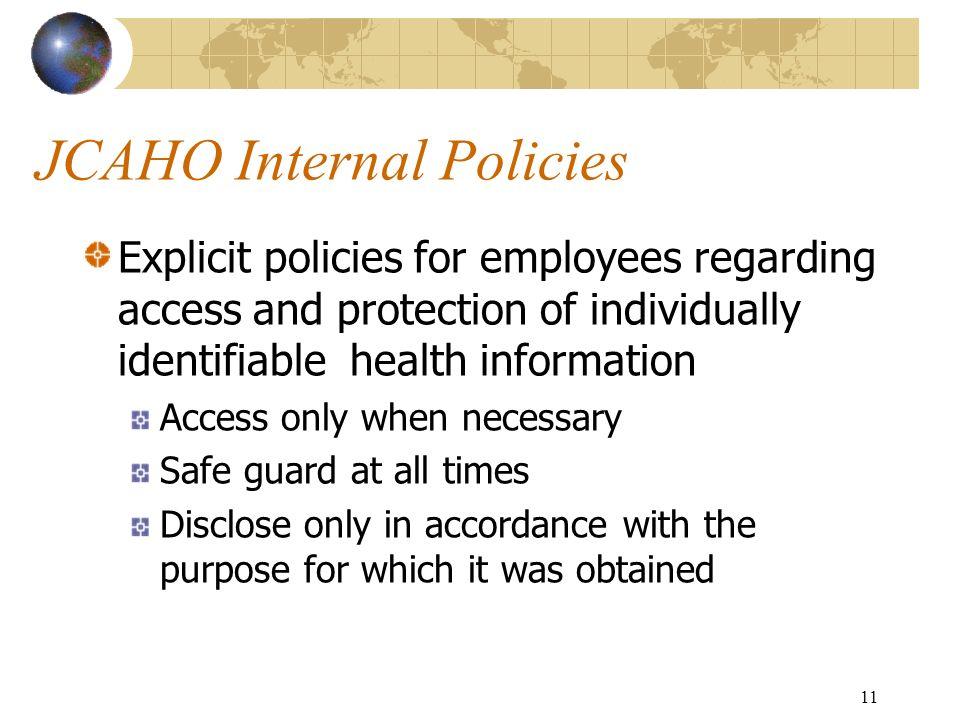 JCAHO Internal Policies
