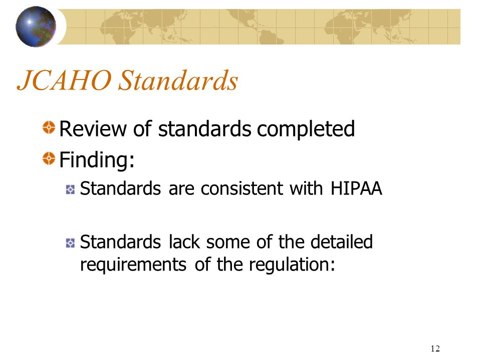 JCAHO Standards Review of standards completed Finding: