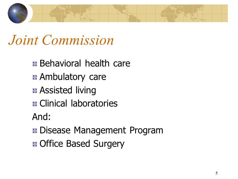 Joint Commission Behavioral health care Ambulatory care