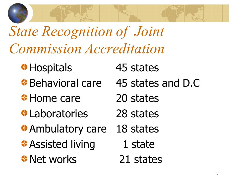 State Recognition of Joint Commission Accreditation