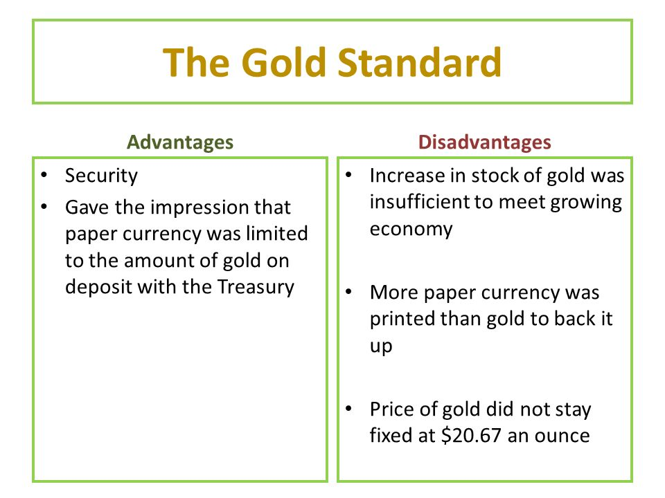 The Gold Standard Advantages Disadvantages Security