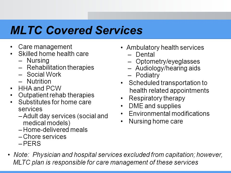MLTC Covered Services Care management Skilled home health care Nursing