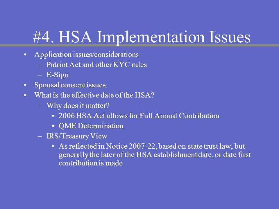 #4. HSA Implementation Issues