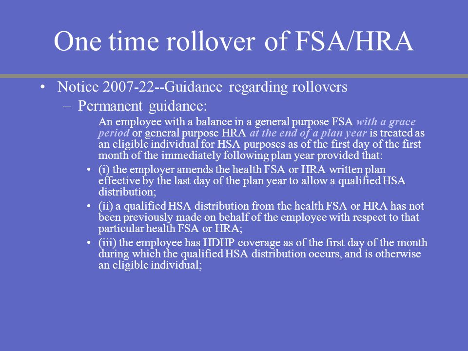 One time rollover of FSA/HRA