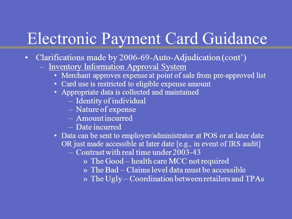 Electronic Payment Card Guidance