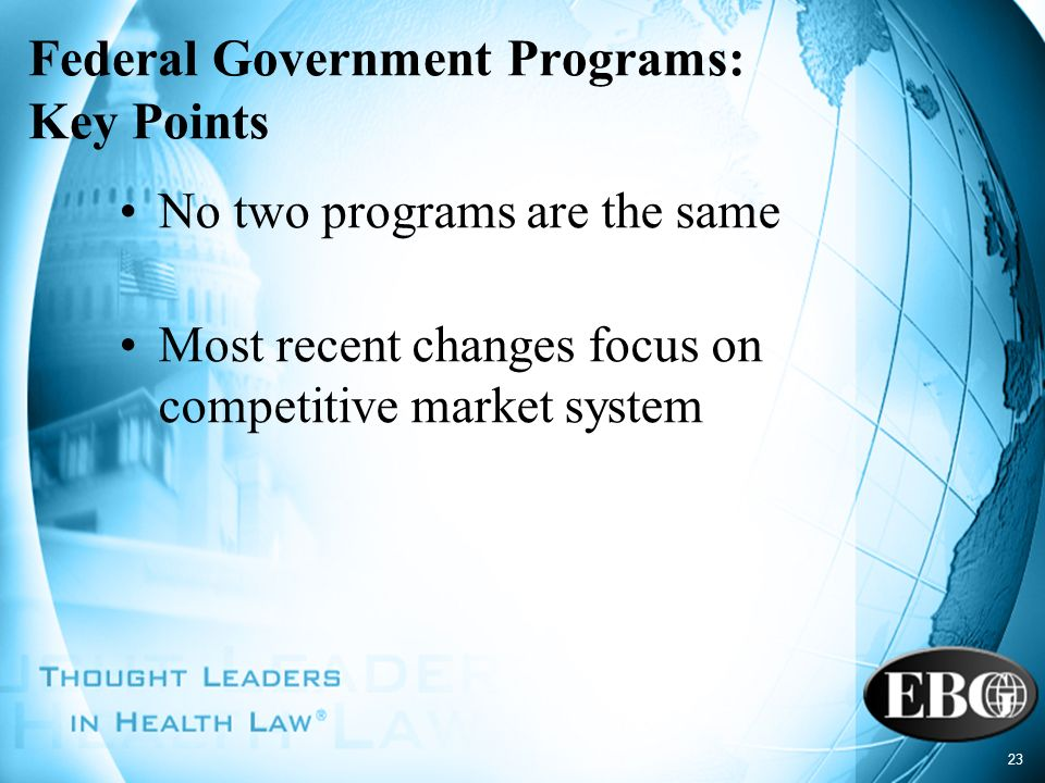 Federal Government Programs: Key Points
