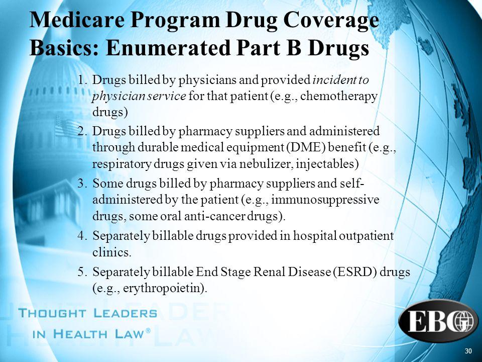 Medicare Program Drug Coverage Basics: Enumerated Part B Drugs