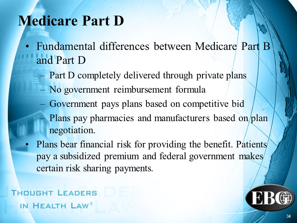 Medicare Part D Fundamental differences between Medicare Part B and Part D. Part D completely delivered through private plans.