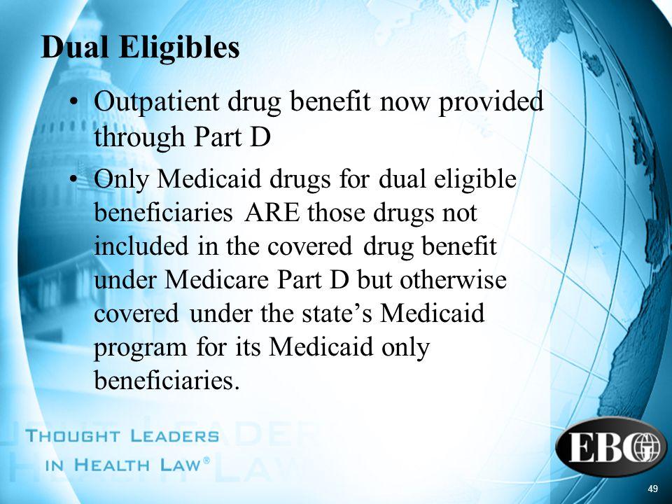 Dual Eligibles Outpatient drug benefit now provided through Part D