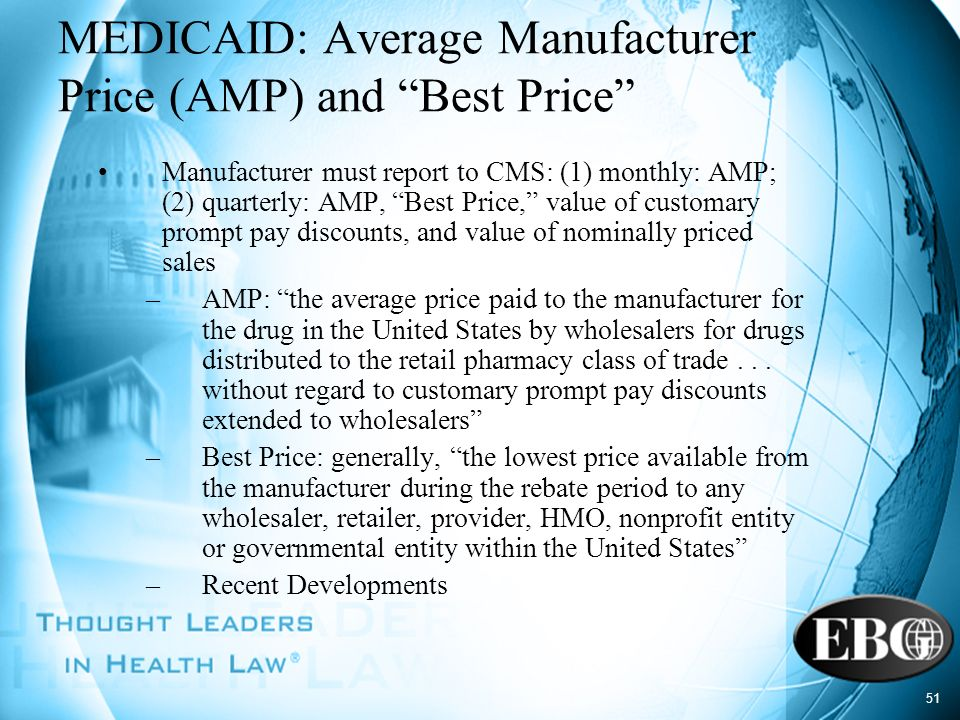 MEDICAID: Average Manufacturer Price (AMP) and Best Price
