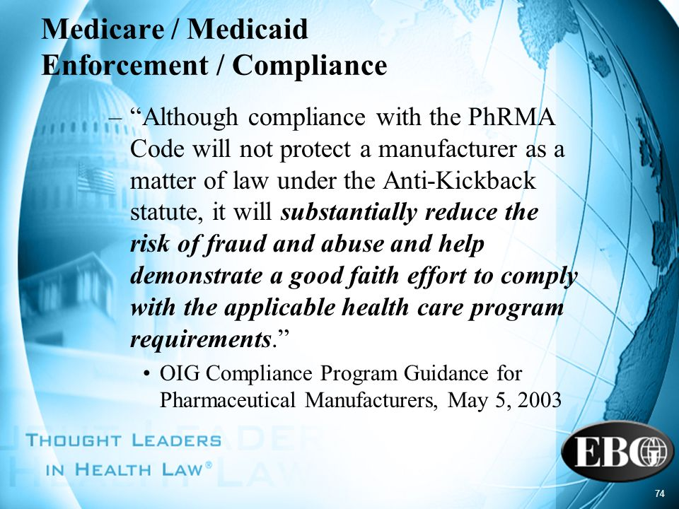 Medicare / Medicaid Enforcement / Compliance
