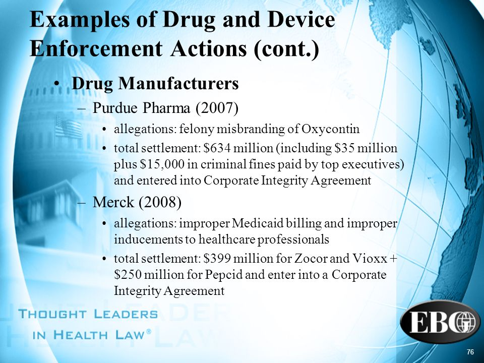 Examples of Drug and Device Enforcement Actions (cont.)