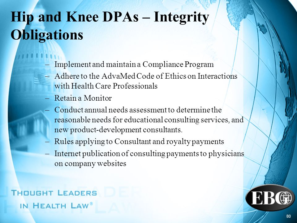 Hip and Knee DPAs – Integrity Obligations