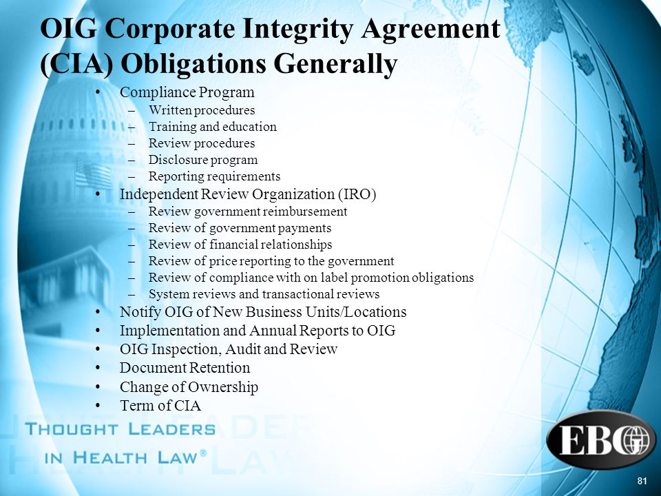 OIG Corporate Integrity Agreement (CIA) Obligations Generally