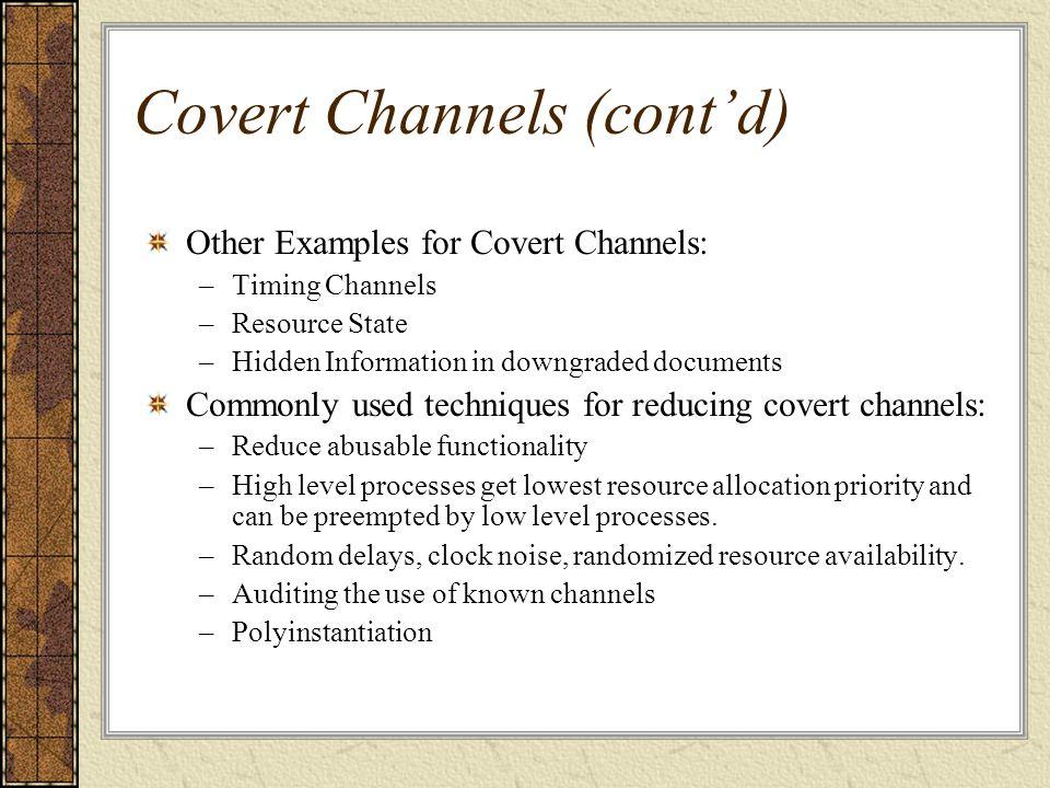 Covert Channels (cont'd)