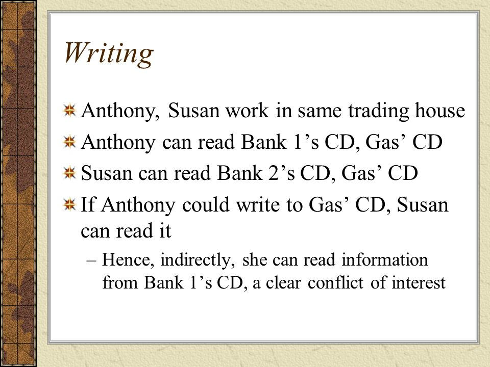 Writing Anthony, Susan work in same trading house