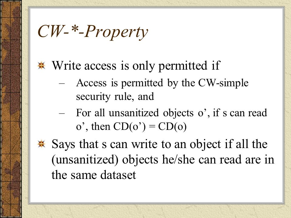 CW-*-Property Write access is only permitted if