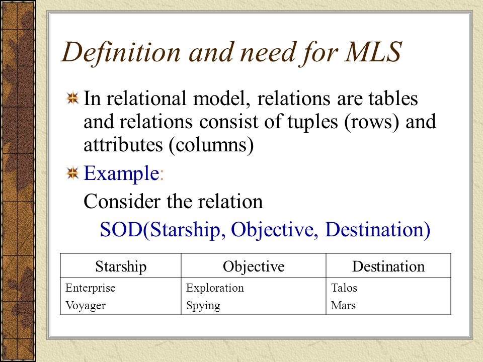 Definition and need for MLS