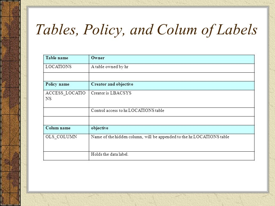 Tables, Policy, and Colum of Labels