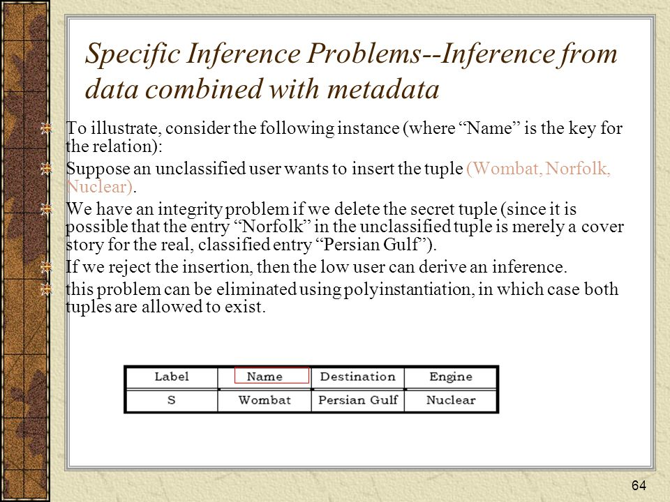 Specific Inference Problems--Inference from data combined with metadata