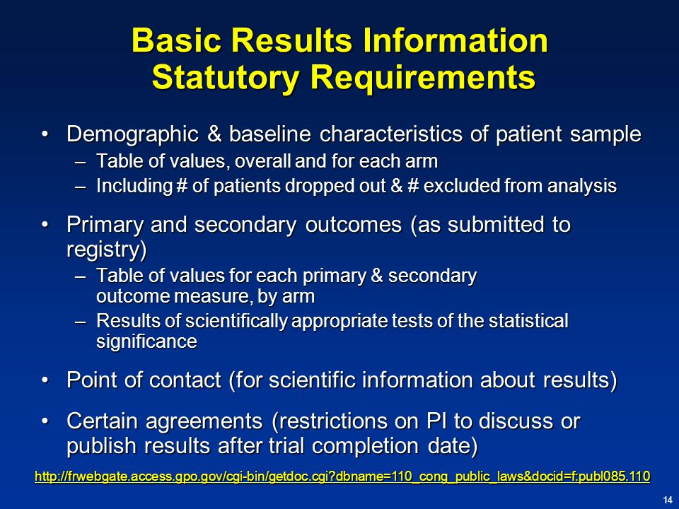 Basic Results Information Statutory Requirements