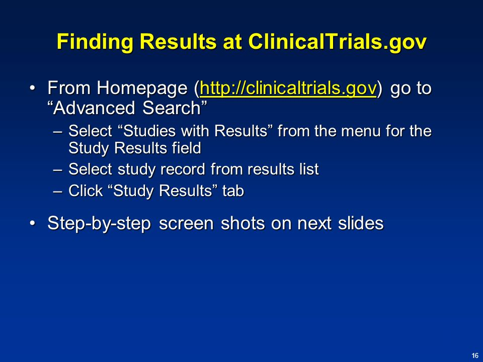 Finding Results at ClinicalTrials.gov